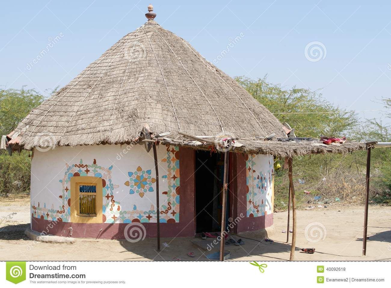 Decorated Hut India Gujarat Stock Photo Image 40092618