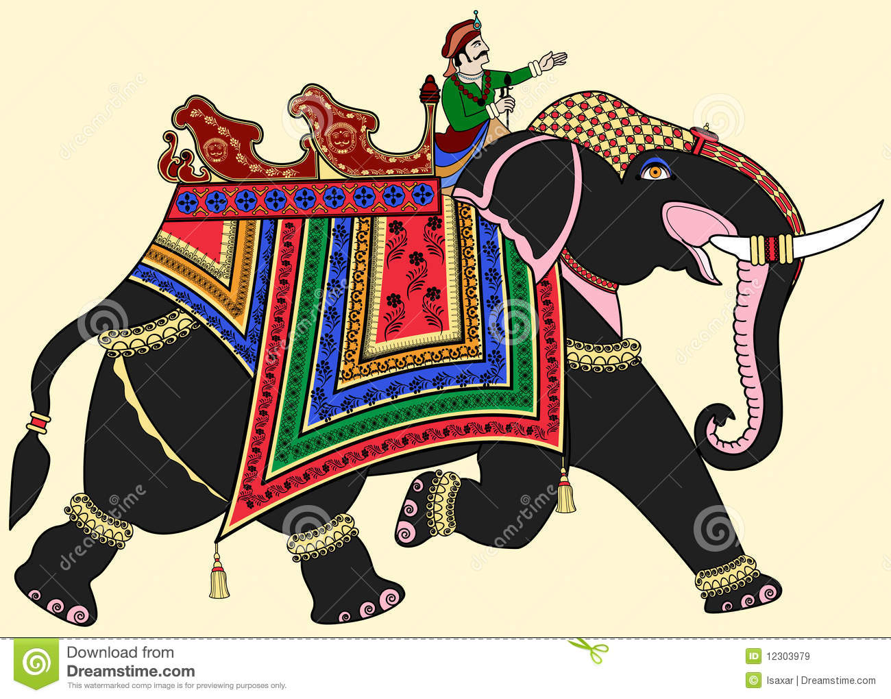 Decorated Indian elephant stock vector. Image of mammal ...