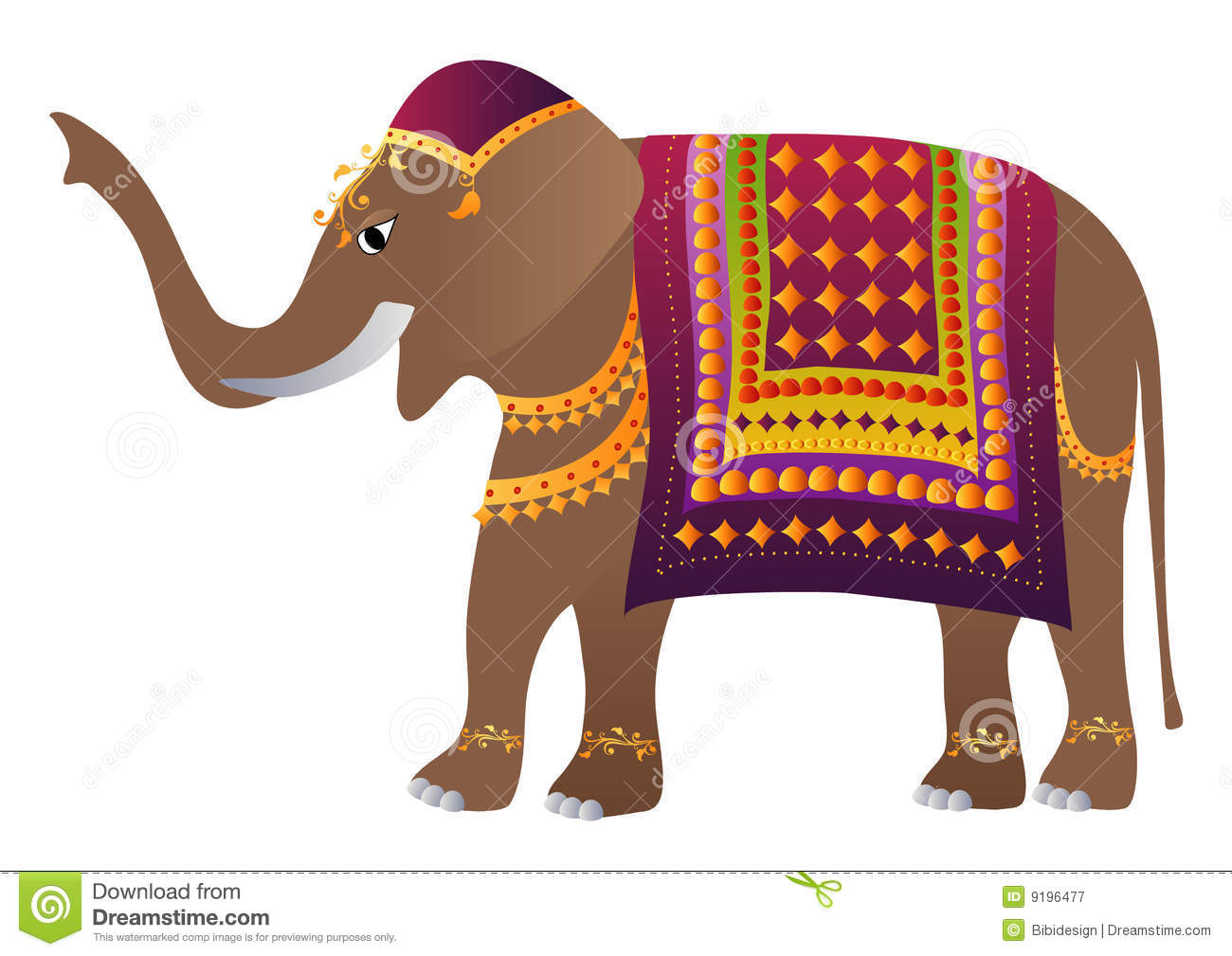 Decorated Indian Elephant stock vector. Illustration of ...