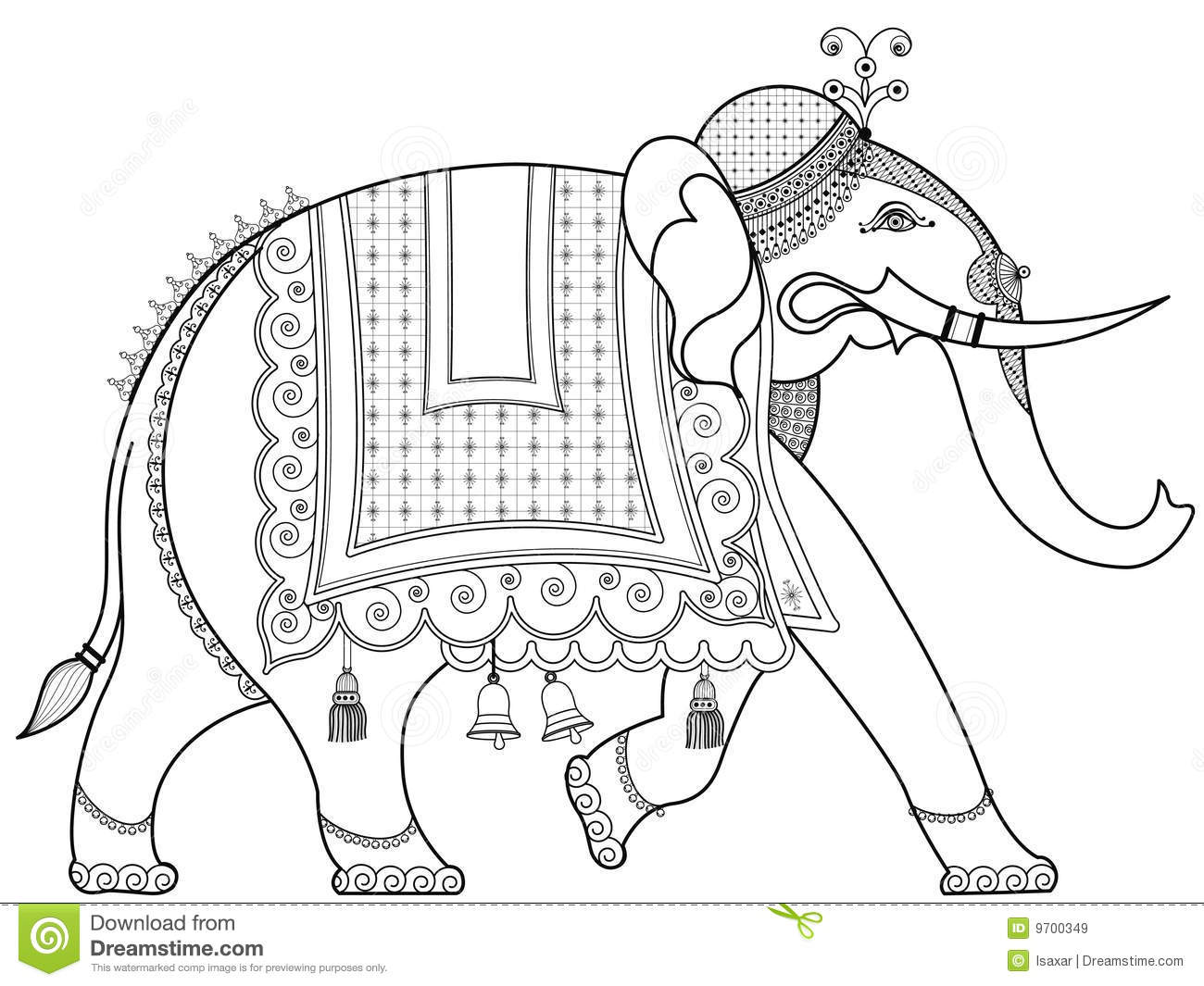 Decorated Indian elephant stock vector. Illustration of indian - 9700349