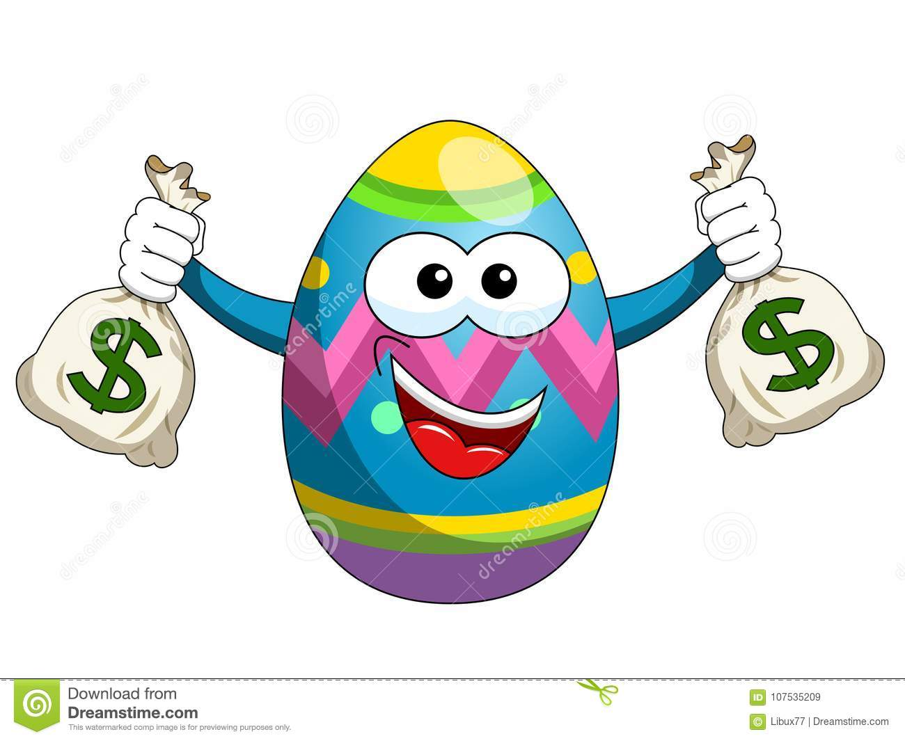Decorated mascot easter egg holding sacks of money isolated