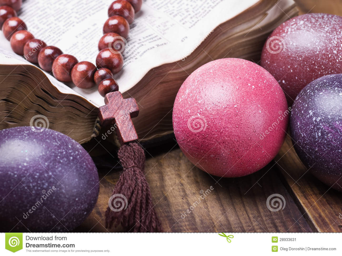 Decorated With Painted Easter Eggs And An Open Bible Stock Image 3qPVqTGU