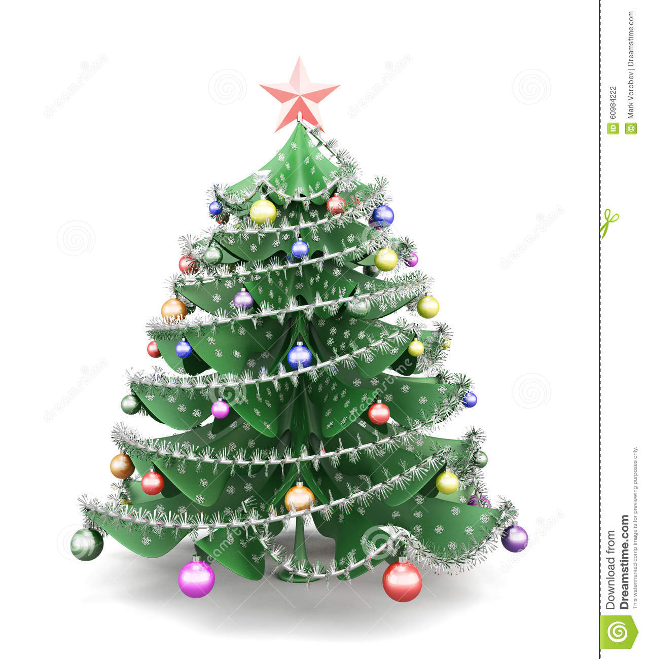 Decorate Christmas Tree On Paper: Decorated Paper Christmas Tree. 3d. Stock Illustration
