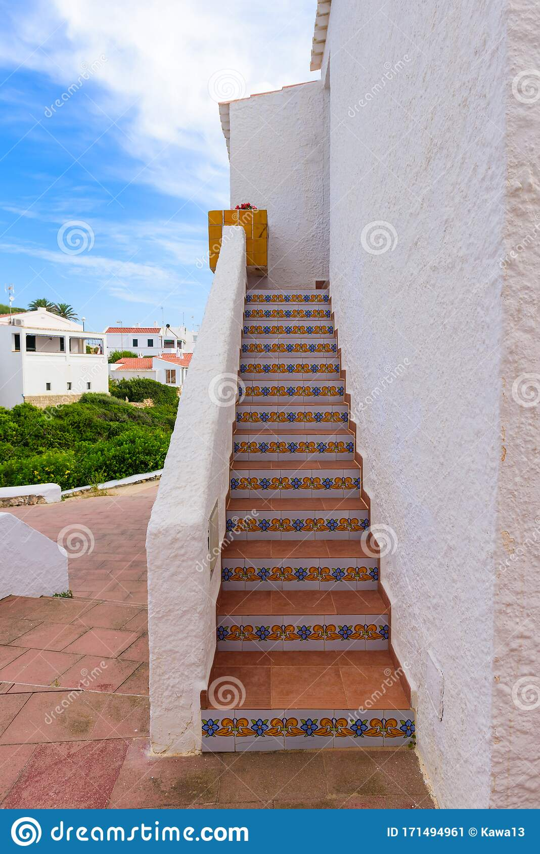 Decorated Stairs To Traditional Spanish House Stock Image ...