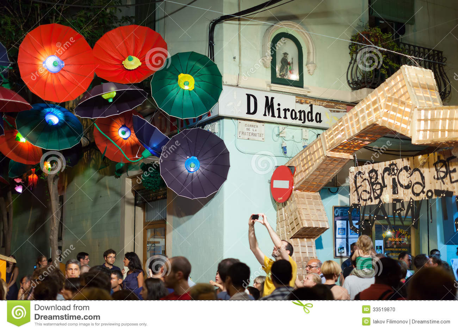 Decorations In Spain Gracia Festival Decorations In Night Barcelona Spain Editorial