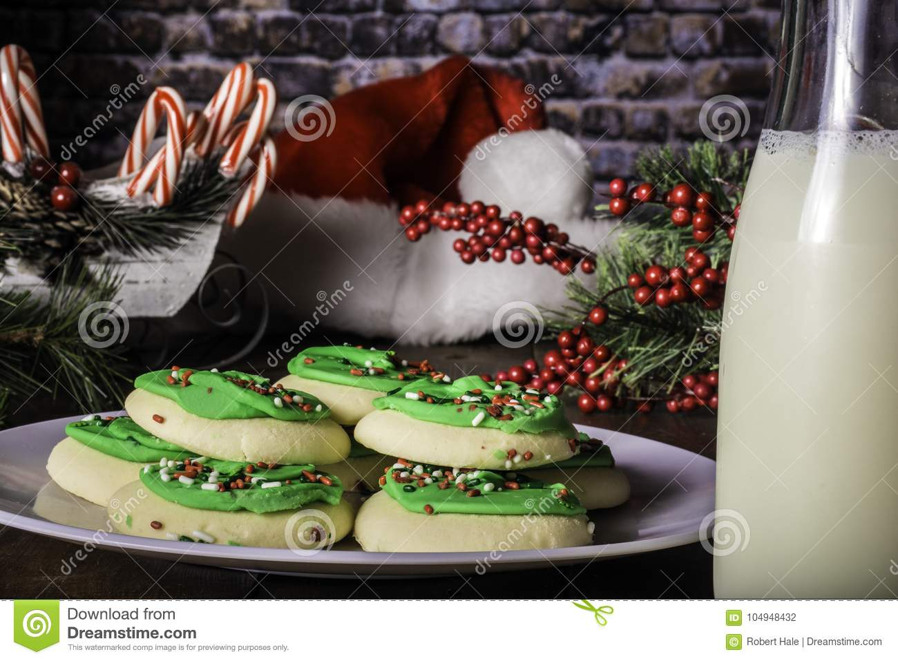 Decorated Sugar Cookies And Bottle Of Milk Stock Photo Image Of