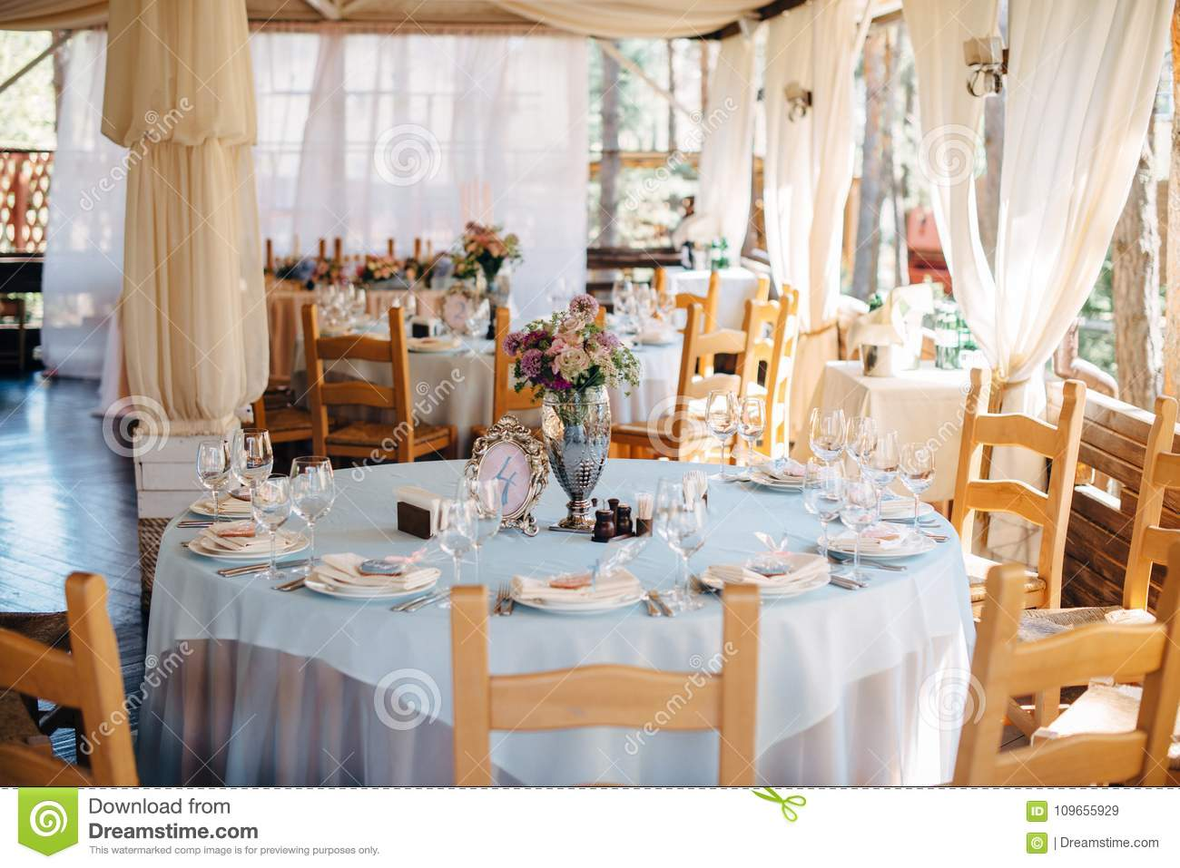 Prime Wedding Decorated Tables In Restaurant Stock Image Image Download Free Architecture Designs Sospemadebymaigaardcom