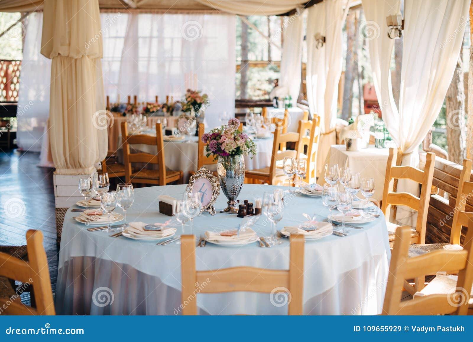 Terrific Wedding Decorated Tables In Restaurant Stock Image Image Interior Design Ideas Clesiryabchikinfo