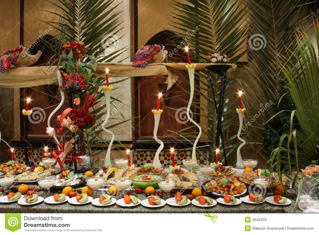 Decorated Tables With Fruit In Restaurant Stock Image
