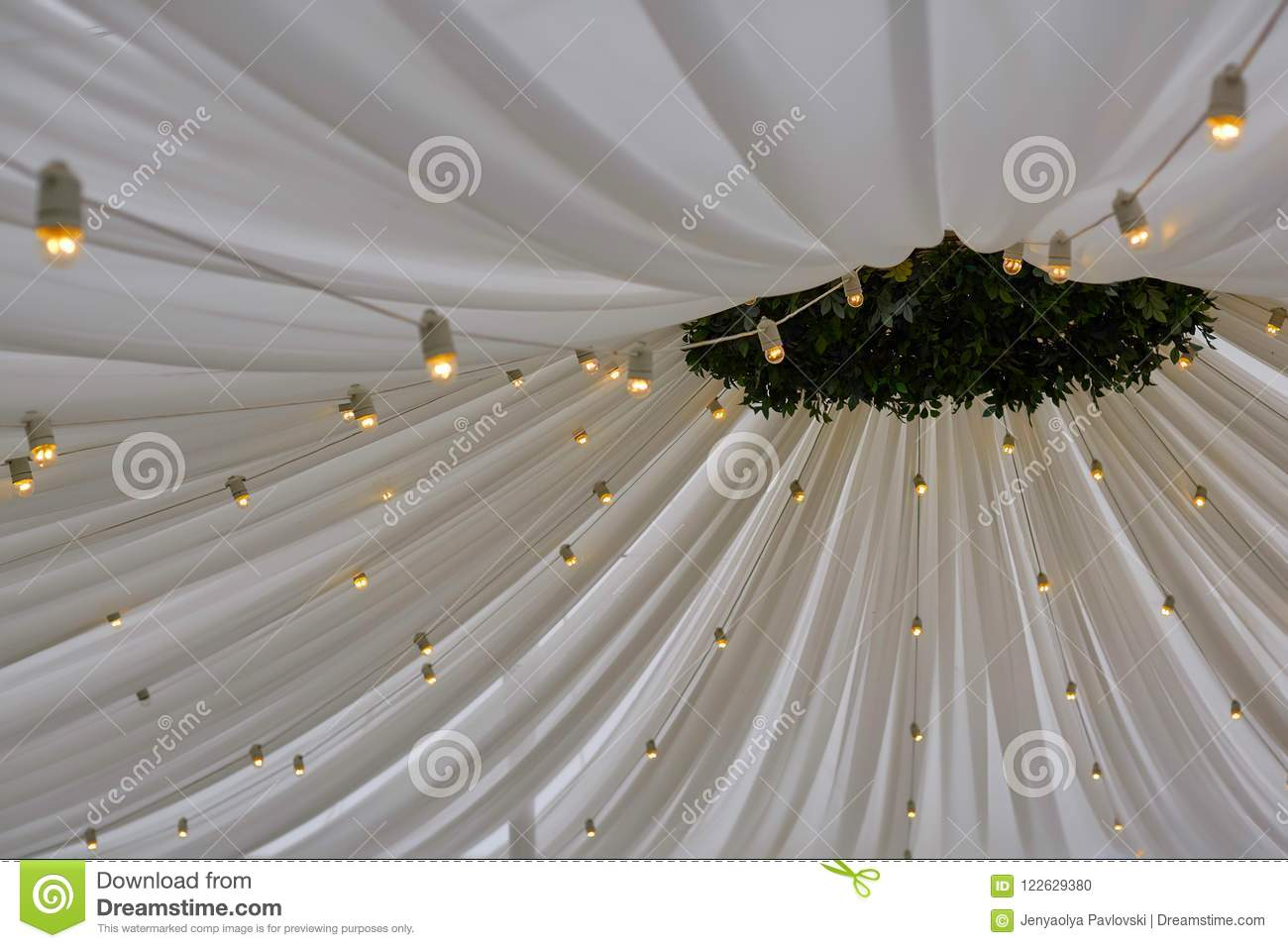 Decorated Tent With Bulb Garland Wedding Setup White Paper Lanterns Inside Of Building Under Wooden Roof Decoration Stock Photo Image Of Bulbs Classic 122629380