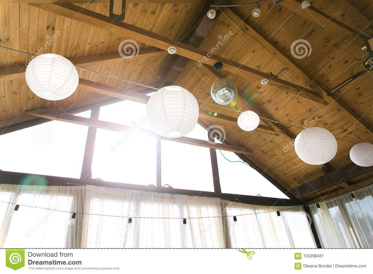 Decorated Tent With Bulb Garland Wedding Setup White Paper Lanterns Inside Of Building Under Wooden Roof Decoration Stock Image Image Of Decorative Lantern 103298481
