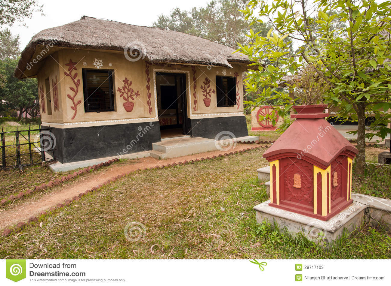 Decorated village hut stock image image of simple for Bangla house photo
