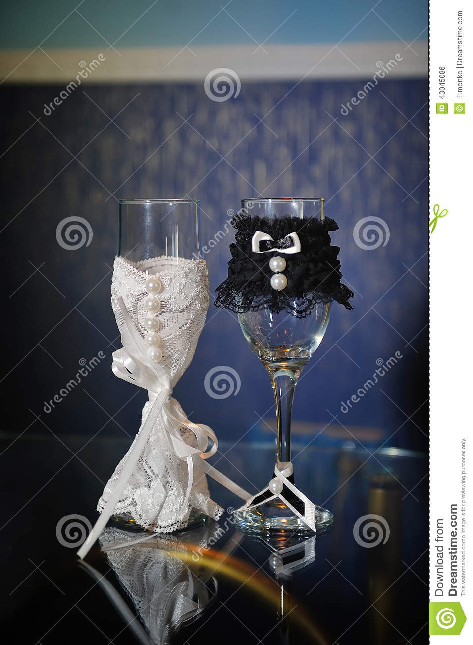 Decorated Wedding Glasses Bride And Groom Stock Photo Image