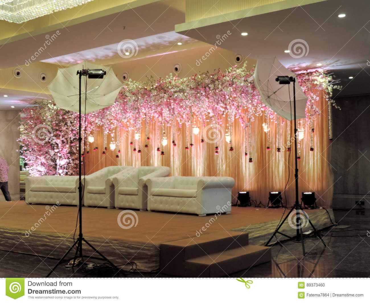 Decorated Wedding Reception Stage At Traditional Hindu India