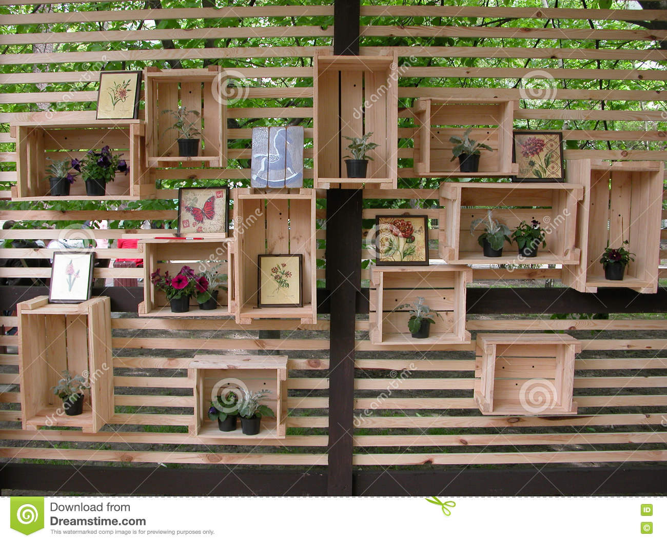 Decorated wooden boxes at the wall stock photo image - Holzkisten wand ...