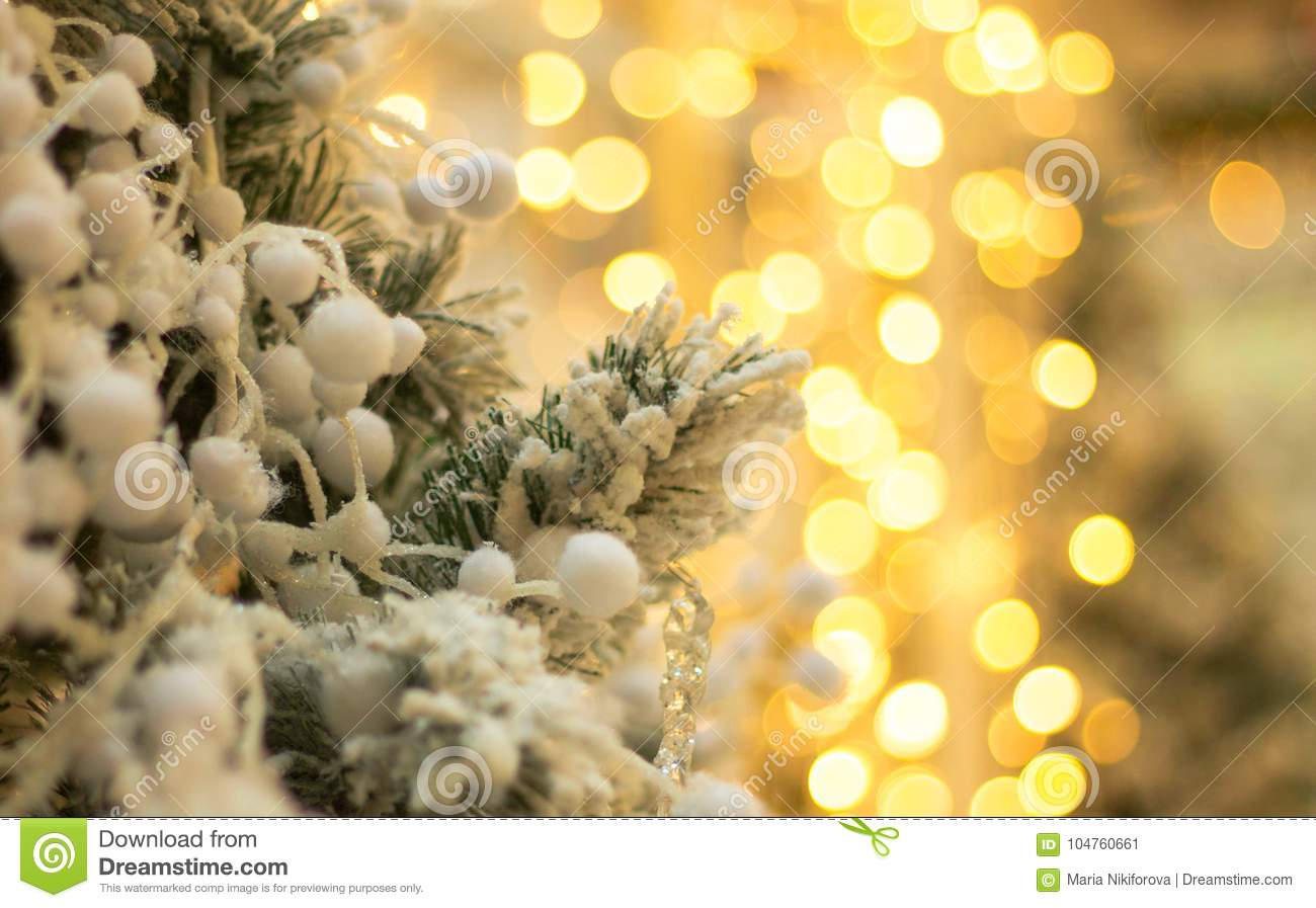 download christmas tree with fake snow and blurred lights at the back stock image image