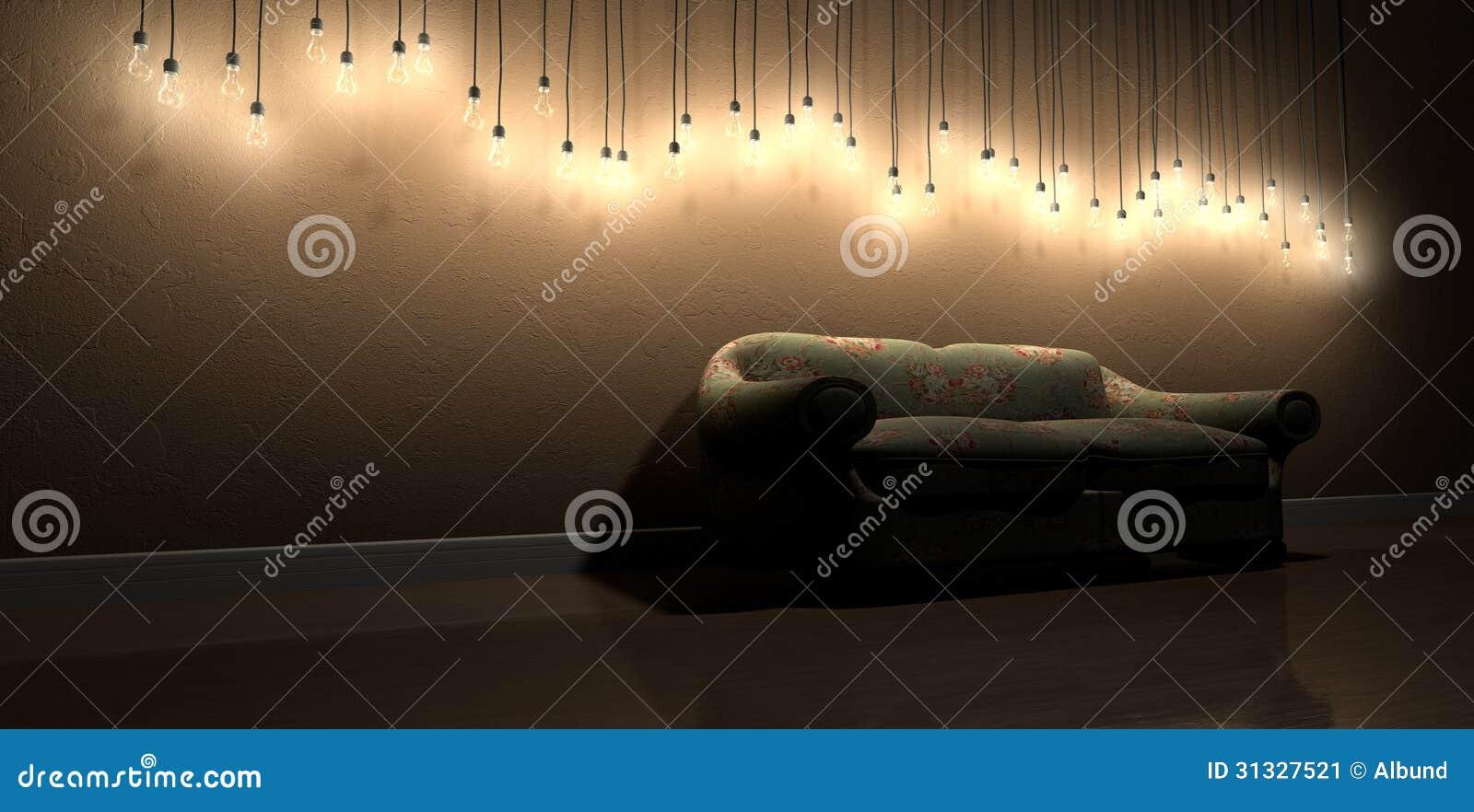 Decoratie van de Gloeilampen de Hangende Muur in Zaal met Uitstekend ...