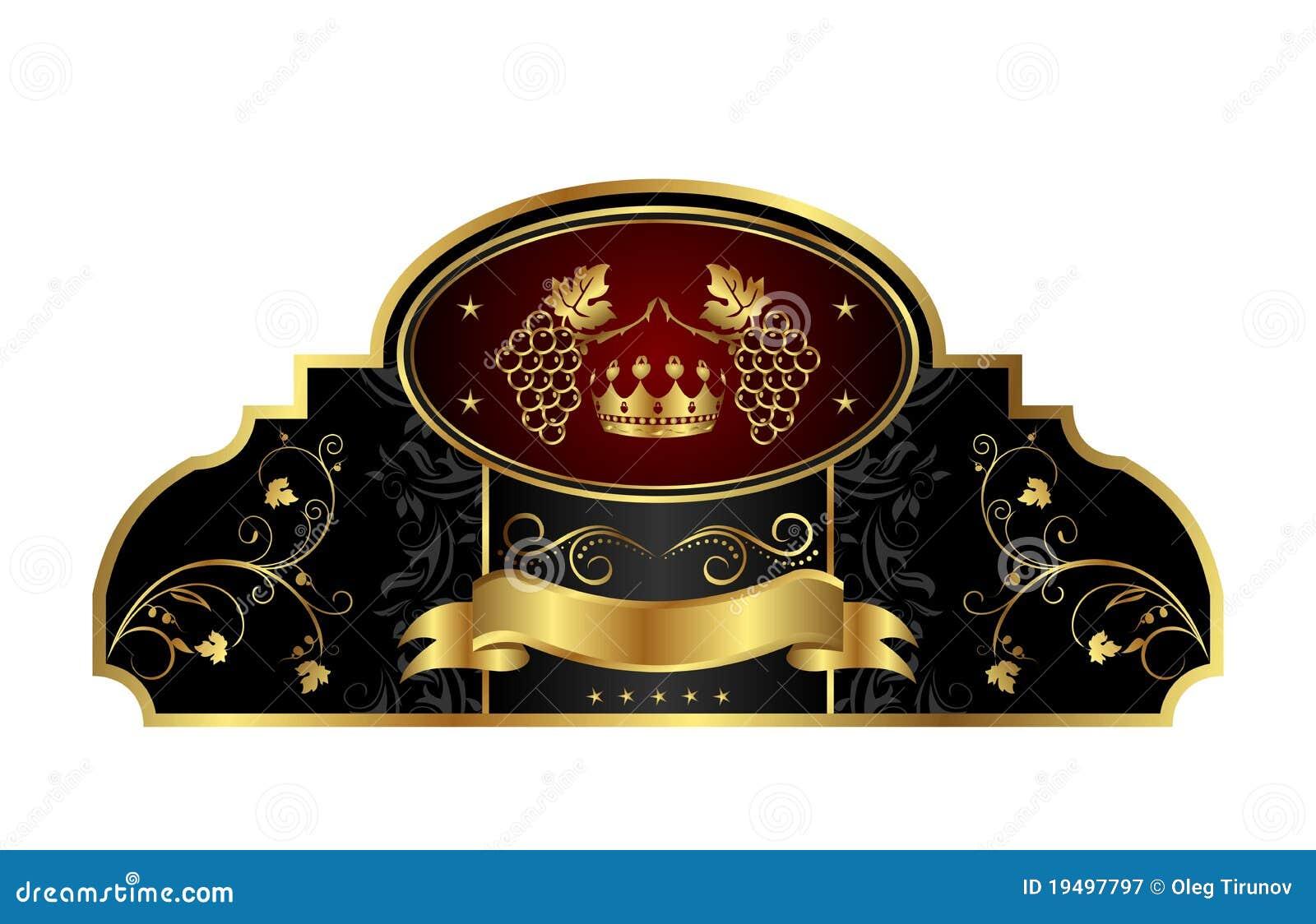 Decoratief gouden frame etiket met wijnstok