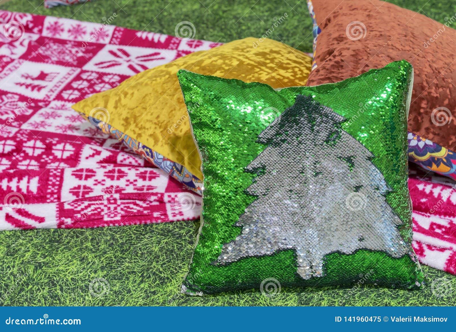 Decoratief hoofdkussen met Kerstboom van lovertjes