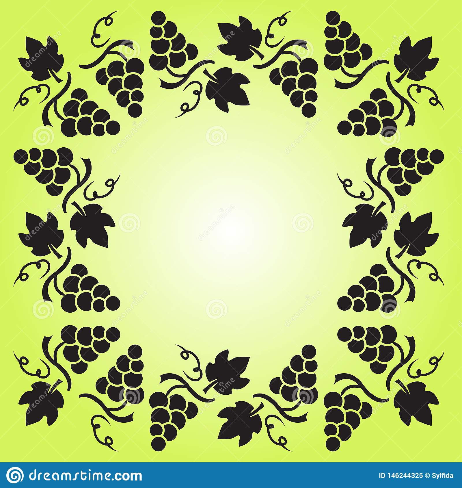 Decoratief kader met wijnstok, druiven en bladeren Vector illustratie