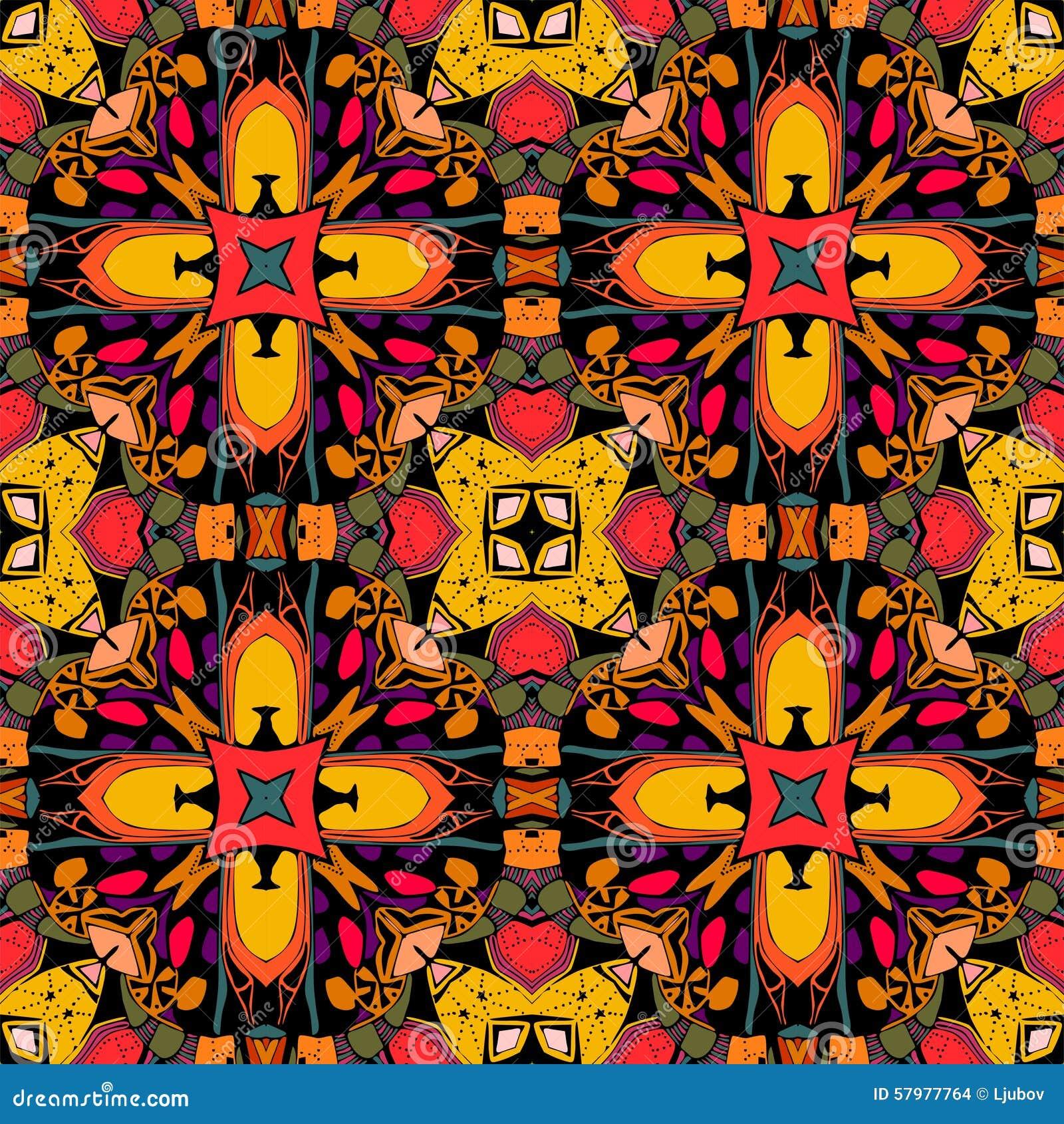 Decoratief naadloos patroon Helder etnisch ornament Veelkleurige geometrische bloemen Stammen vectorillustratie