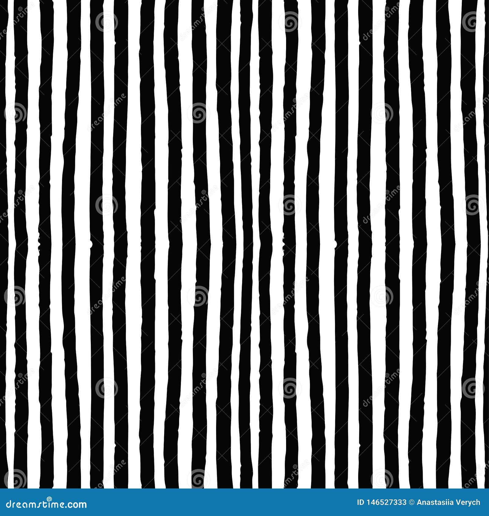 Decoratief naadloos patroon met handdrawn verticale vormen De hand schilderde grungy inktkrabbels in zwart-witte kleuren