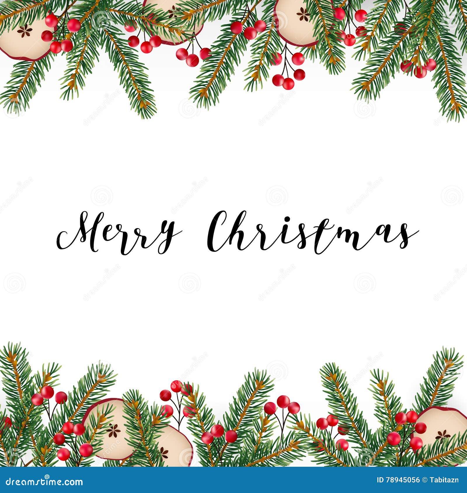 Decoratief traditioneel Vrolijk Kerstmiskader, grens Spar, nette groene die takken met rode bessen wordt verfraaid en droge appel