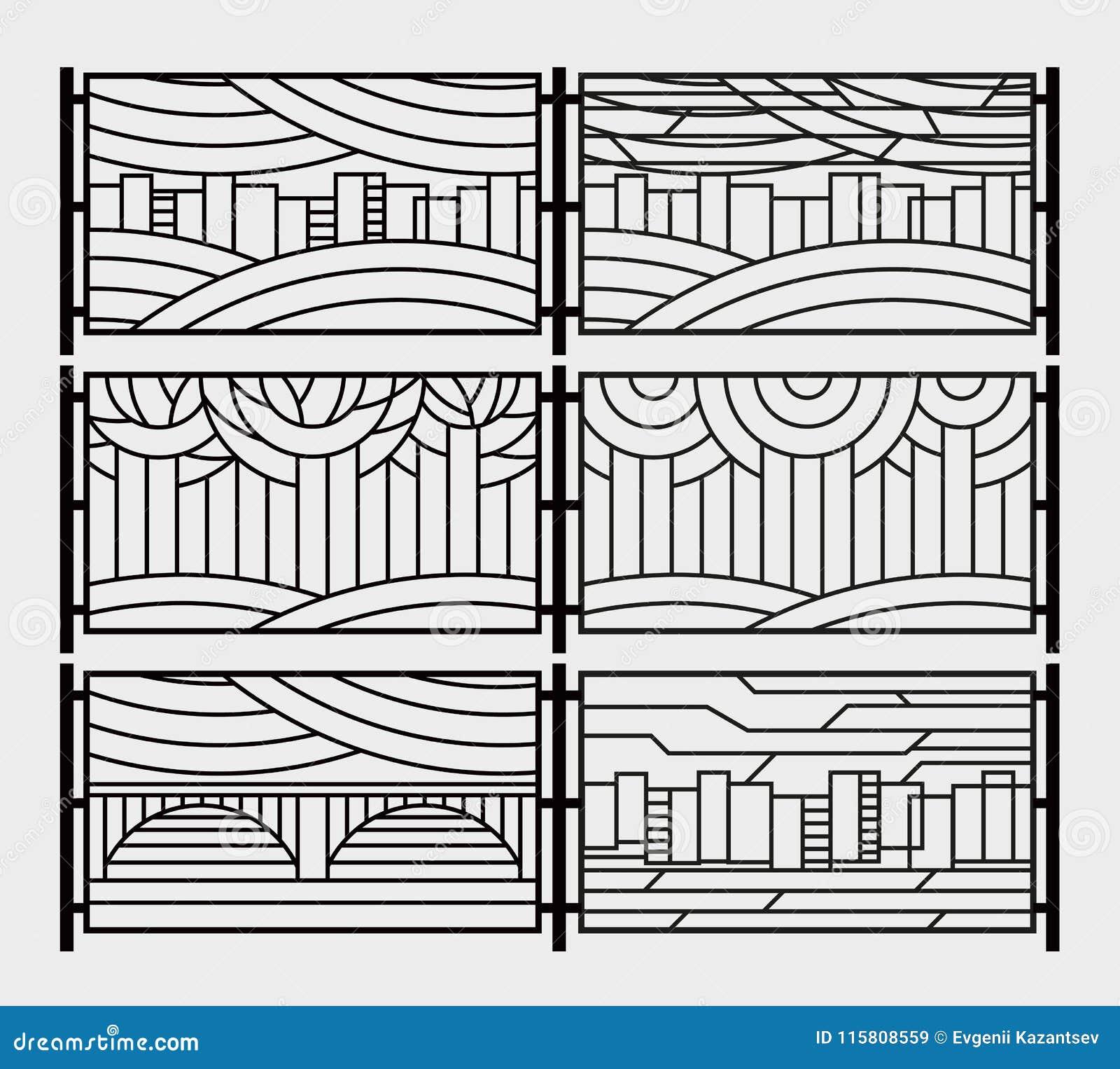 Decoratieve grill voor een omheining of een open haardrooster Gestileerde stad, rivier, brug, hemel, bomen in het park