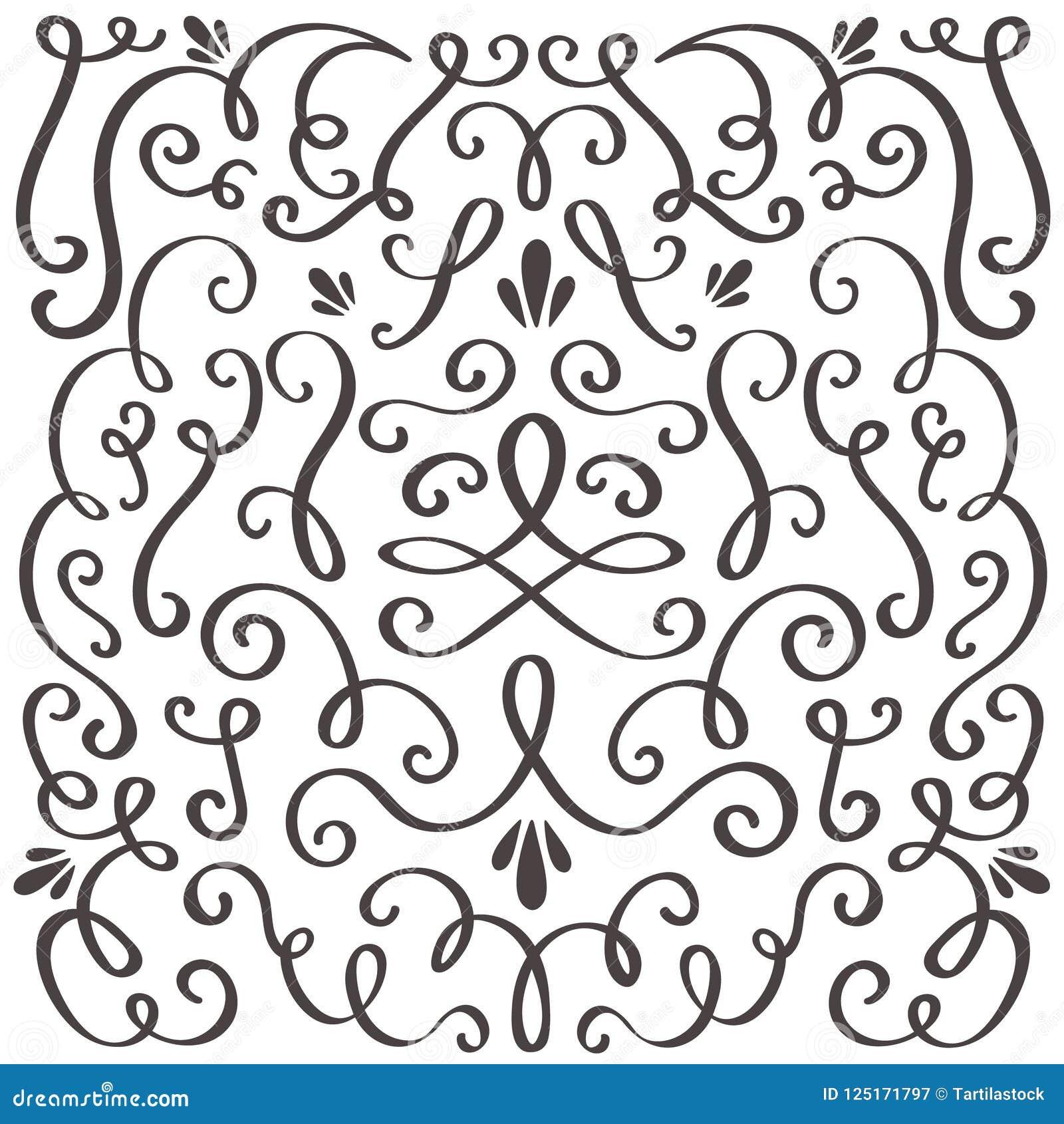 Decoratieve wervelingen Gewerveld uitstekend ornament, wervelende grens en eenvoudig kader Grafische de grensvector van de wervel