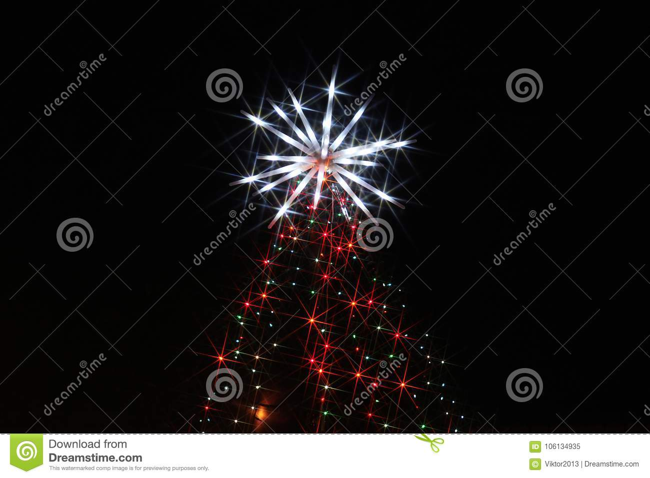 Christmas Celebration In America.Christmas Illuminations In America Stock Image Image Of