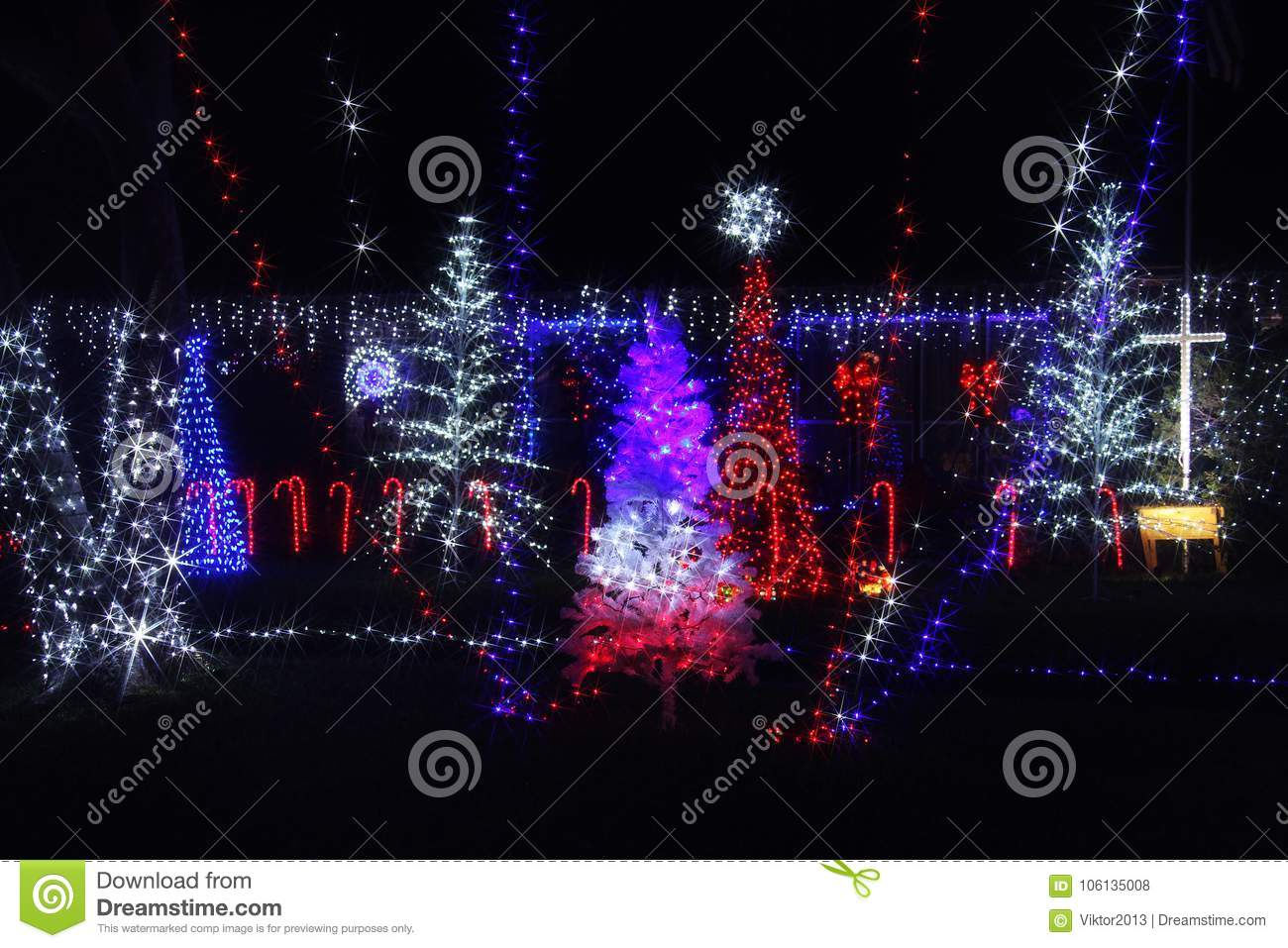 Christmas Celebration In America.Christmas Illuminations In America Stock Photo Image Of