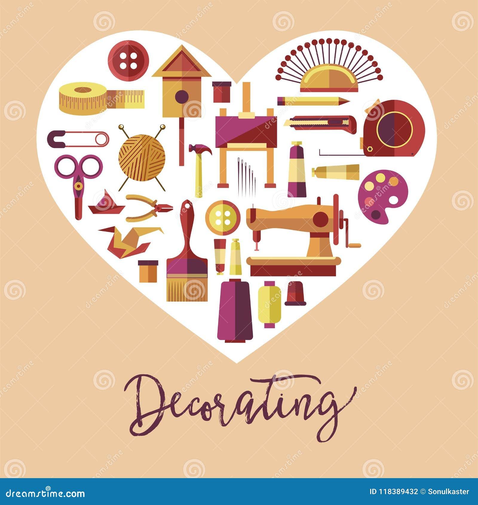 Decorating Art And Handicraft Hobby Vector Poster Stock Vector