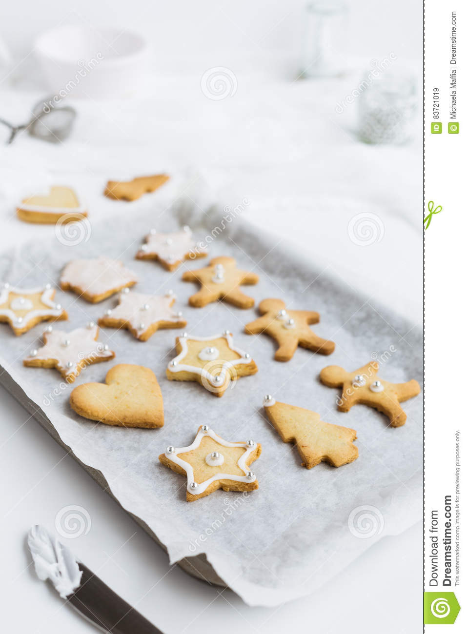 Decorating Christmas Shortbread Biscuits On Baking Tray Stock Image