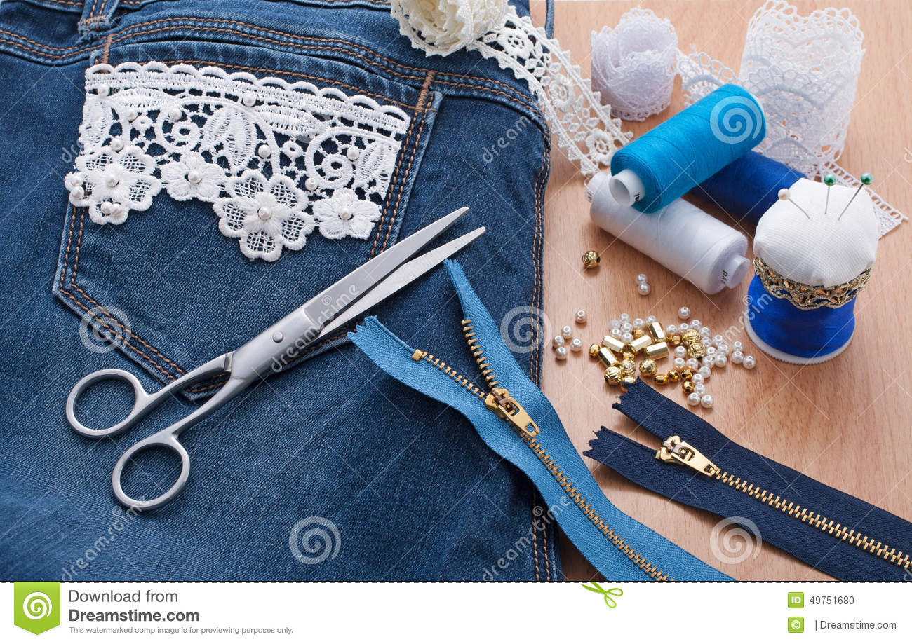 Decorating Jeans Lace And Beads Stock Photo Image 49751680