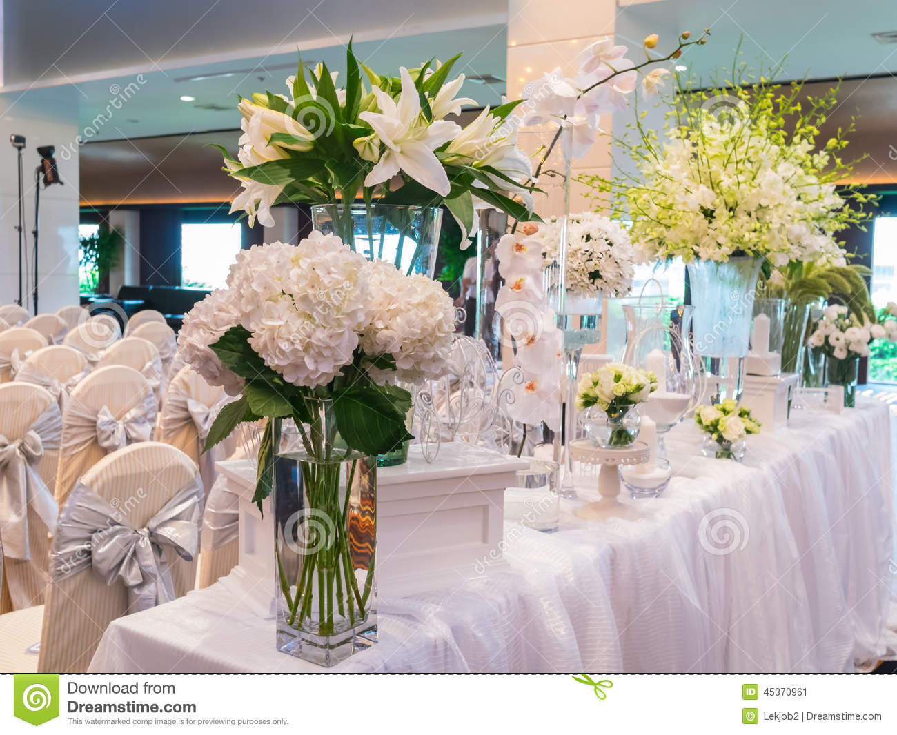 decorating white flower for wedding in luxury hotel stock photo