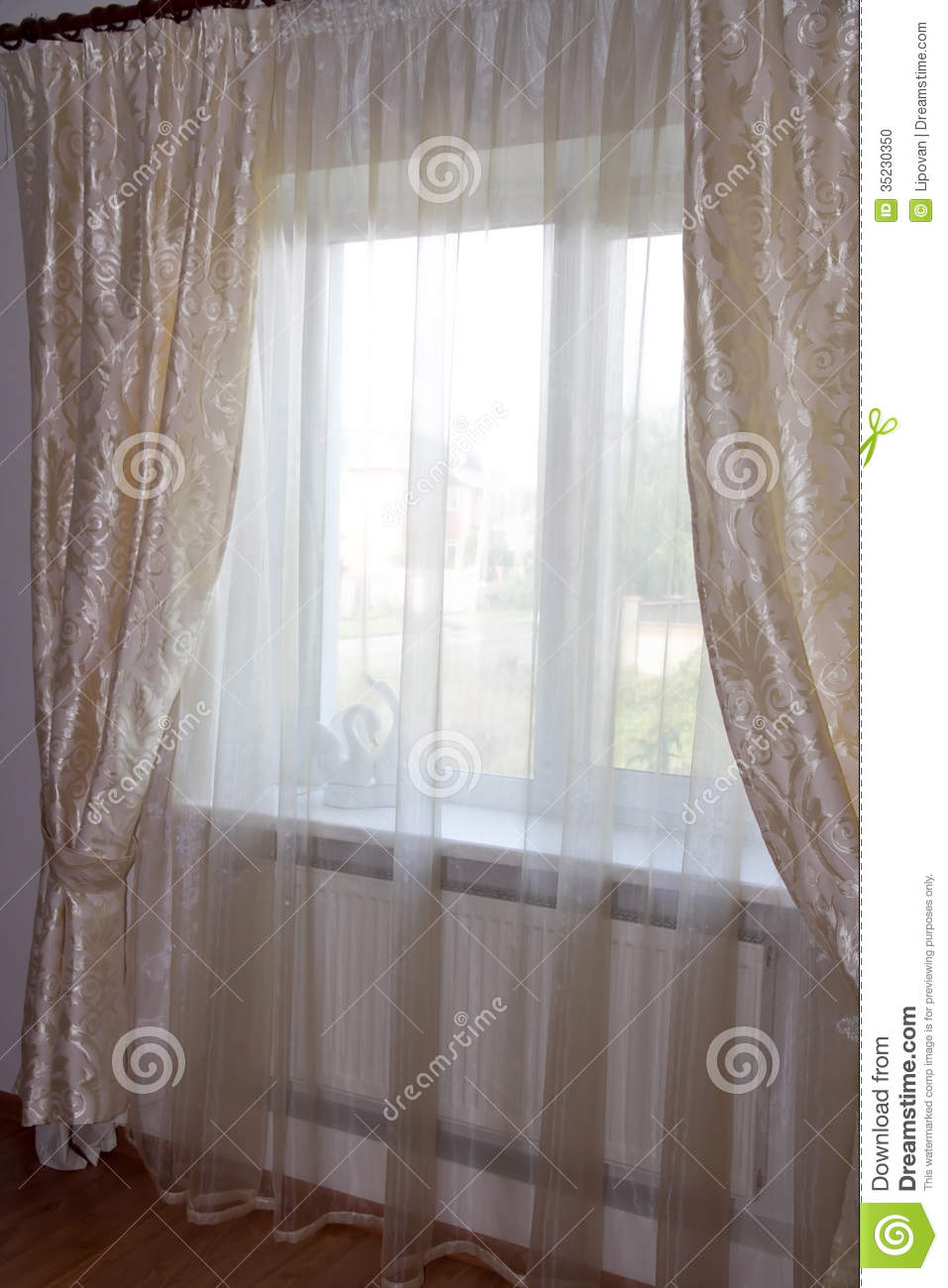 decorating windows cream curtains in the bedroom stock photo image