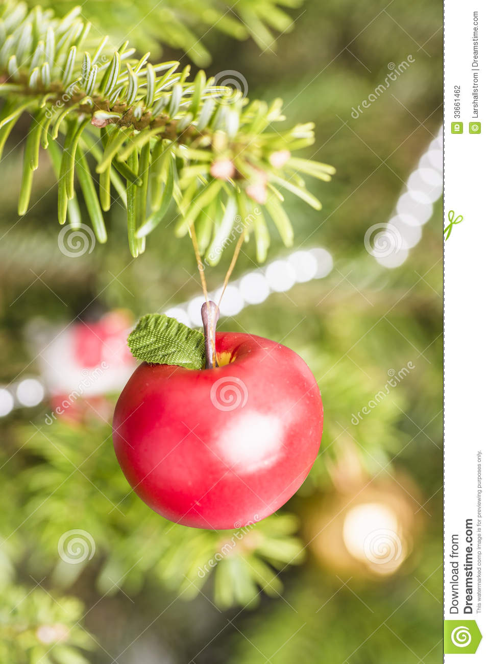 Decoration apple hanging in christmas tree stock for Apple tree decoration