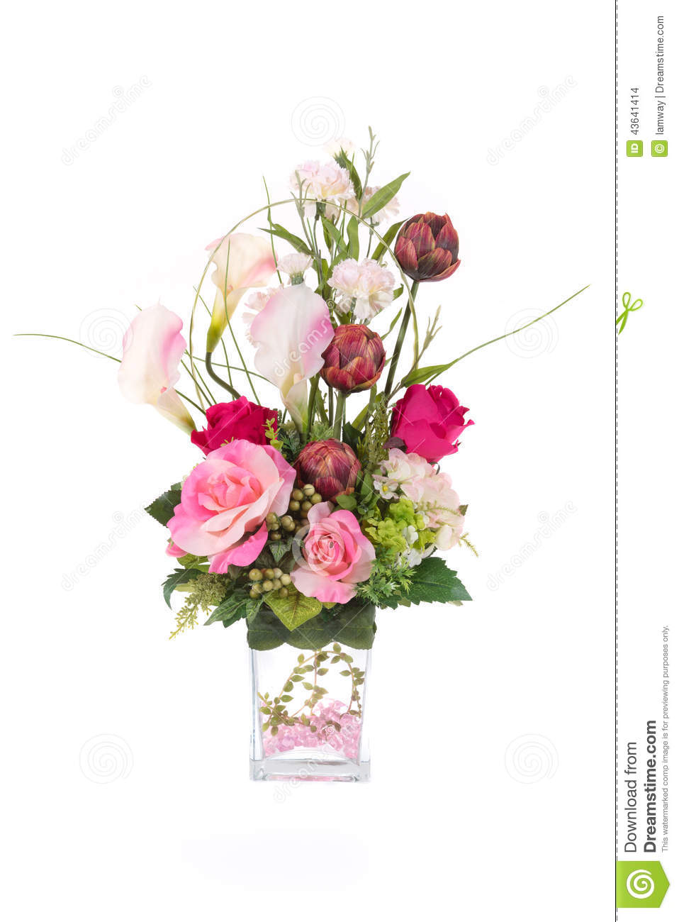 Decoration artificial plastic flower with glass vase pink for Artificial flower for decoration
