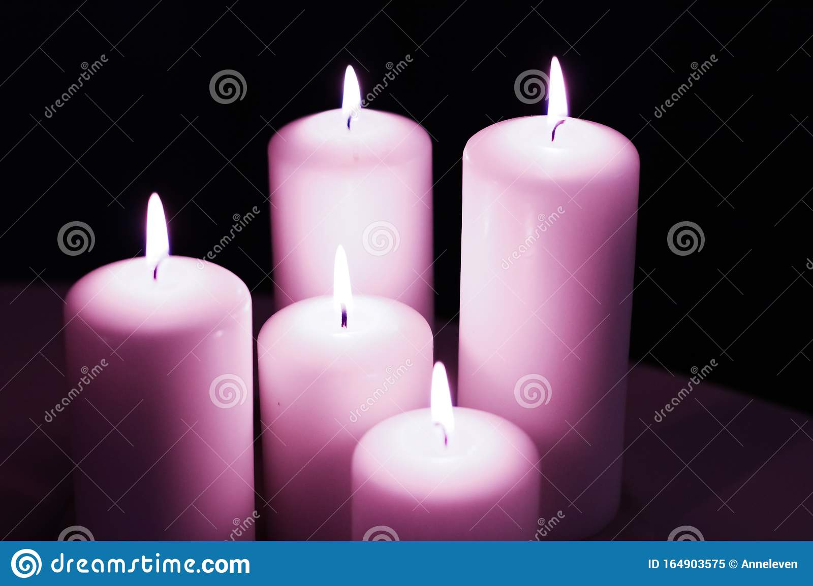 Aromatic Purple Floral Candles Set At Night, Christmas ...