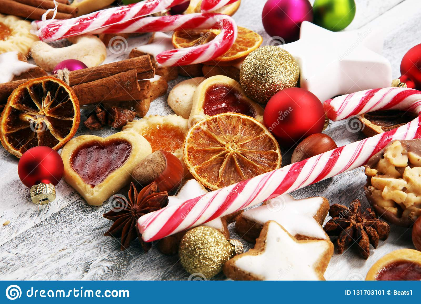 Decoration With Christmas Cookies Typical Cinnamon Stars With
