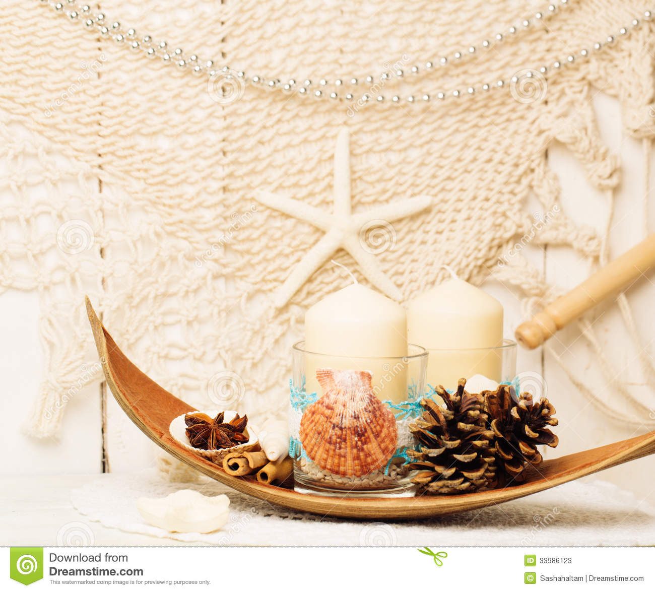 Decoration for christmas in marine style stock image for Decoration style marin