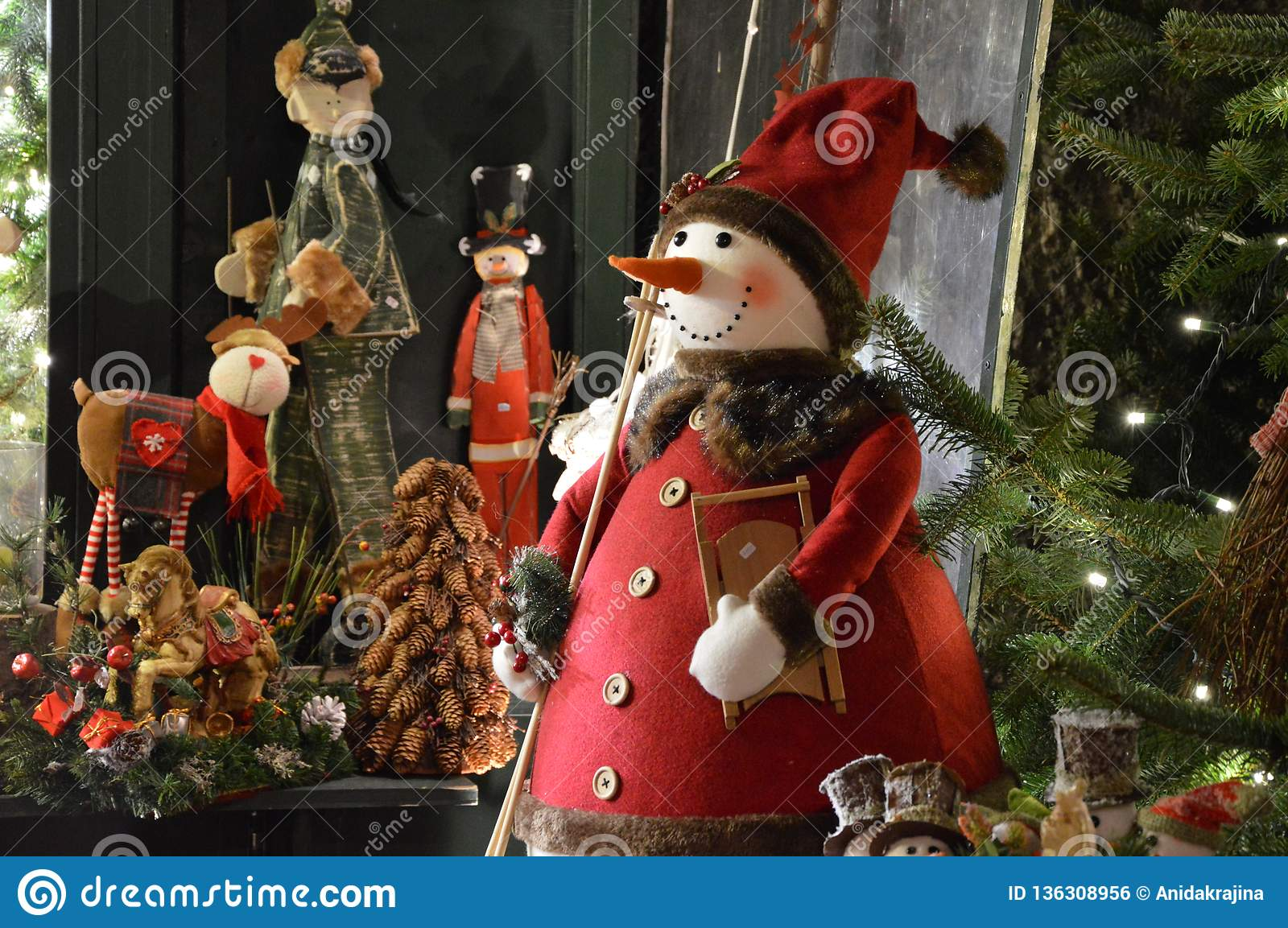 Christmas In Austria Holidays.Snowman And His Magic Stock Photo Image Of Winter Market