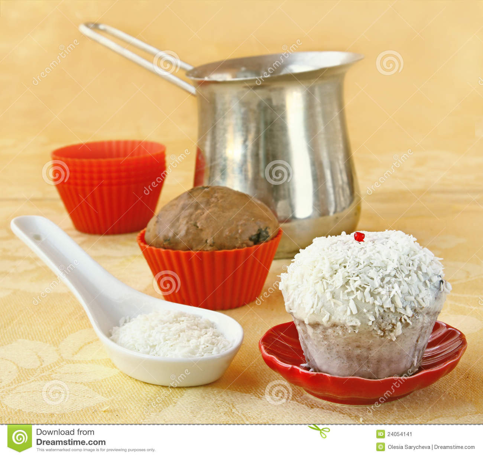 Decoration cupcake cream and coconut shaving stock image image 24054141 - Creme decoration cupcake ...