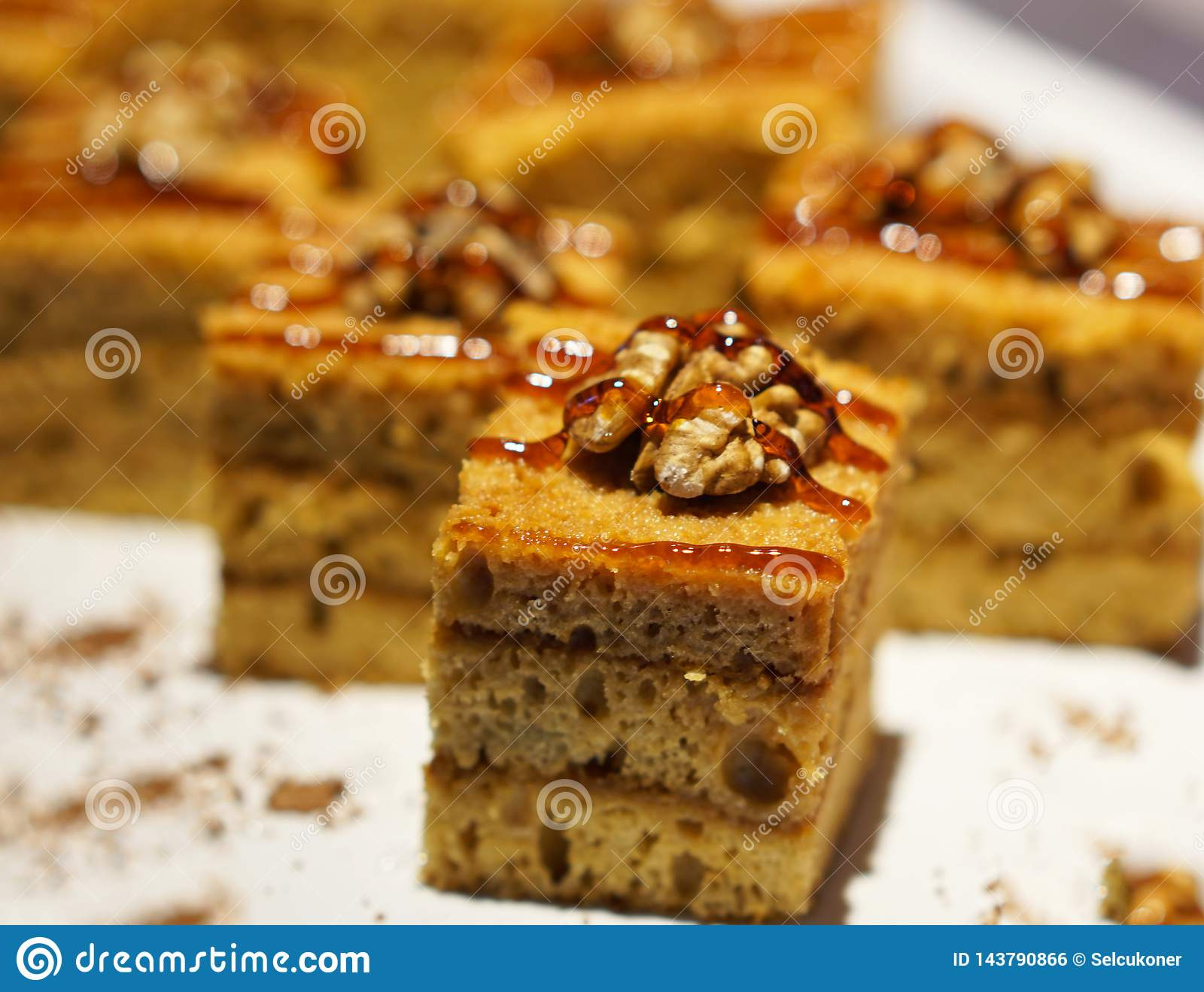Delicious walnut  cakes on a open buffet