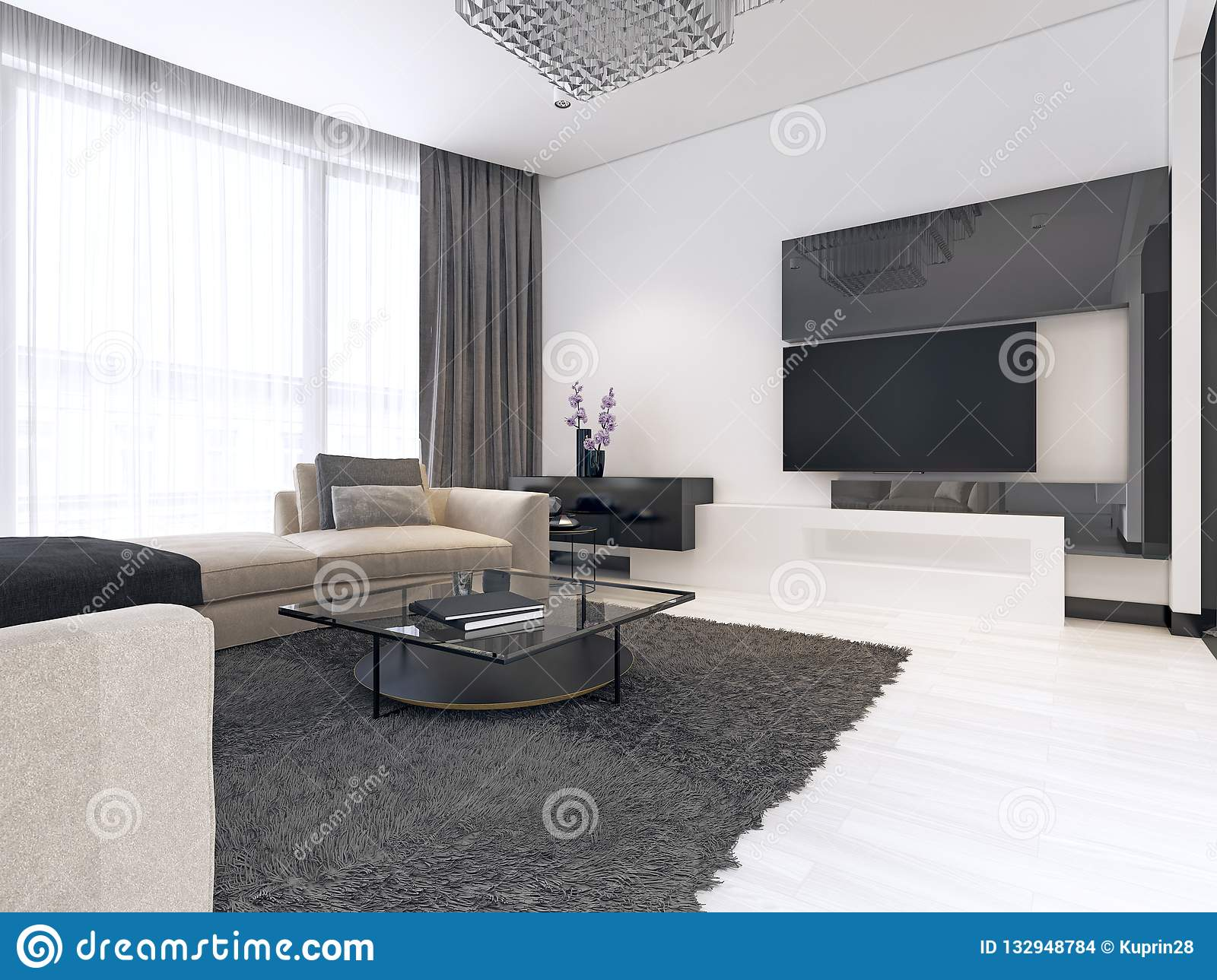 Decoration And Design Of Contemporary Living Room Stock