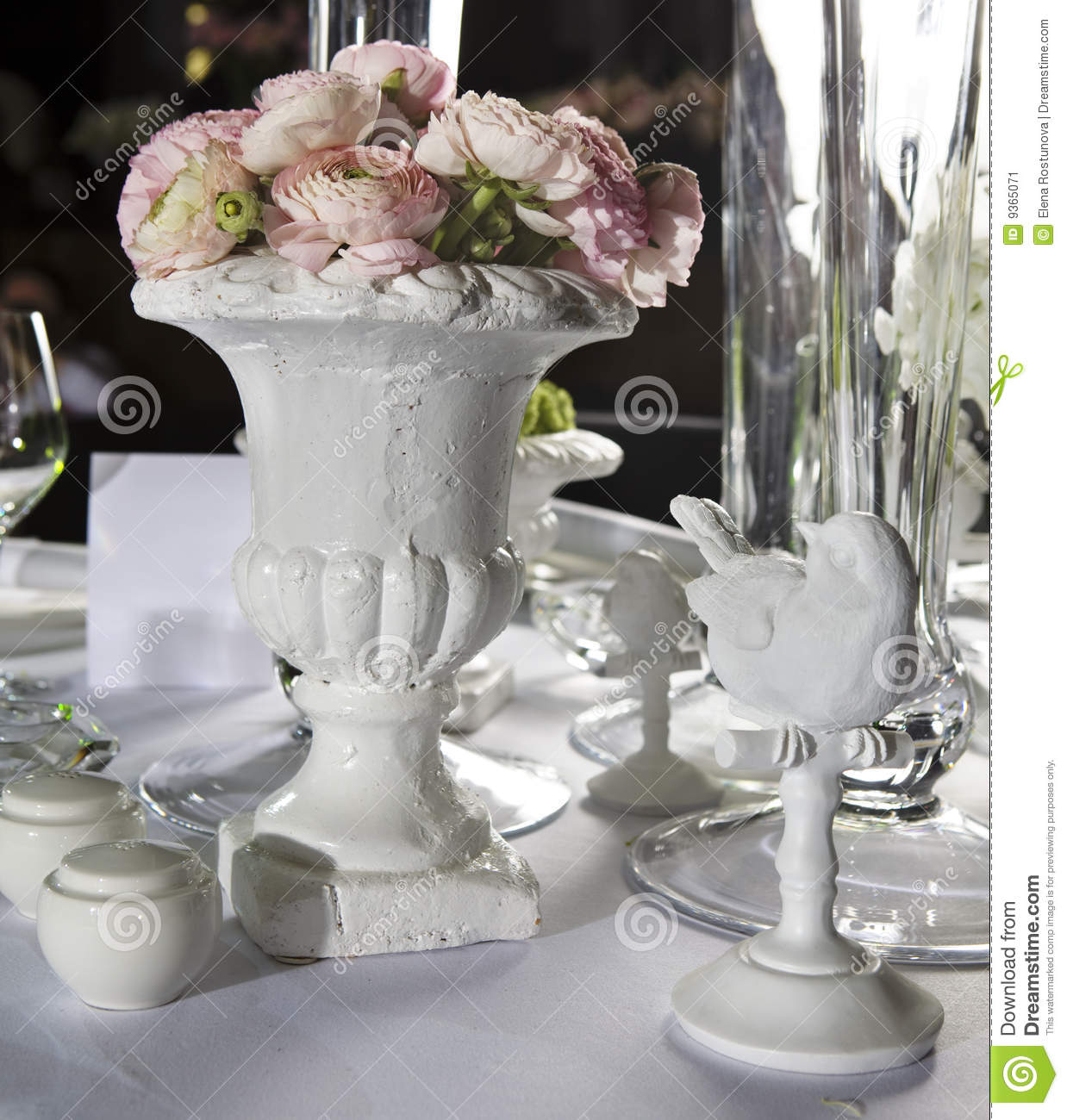 Decoration dining table in restaurant stock image