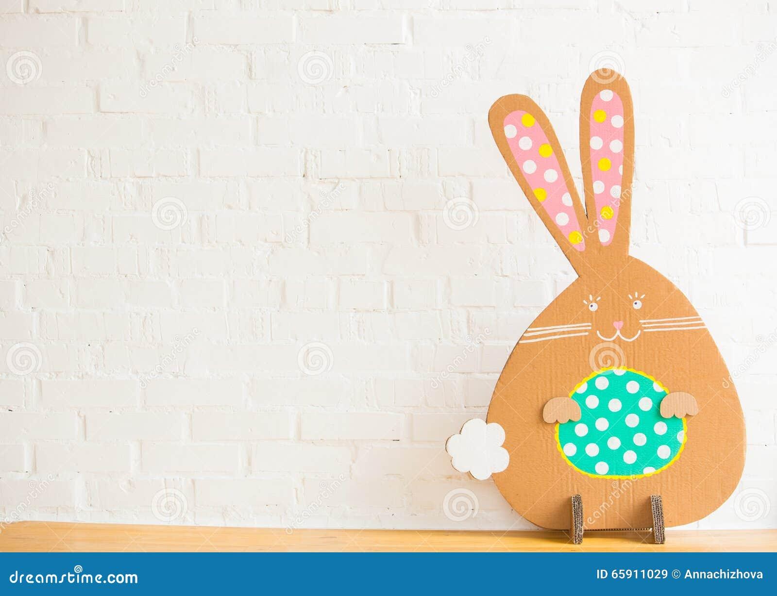 Decoration for Easter. Rabbit of cardboard
