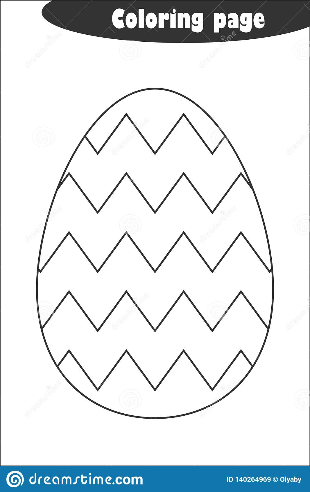 Decoration Egg Zigzag In Cartoon Style, Coloring Page ...