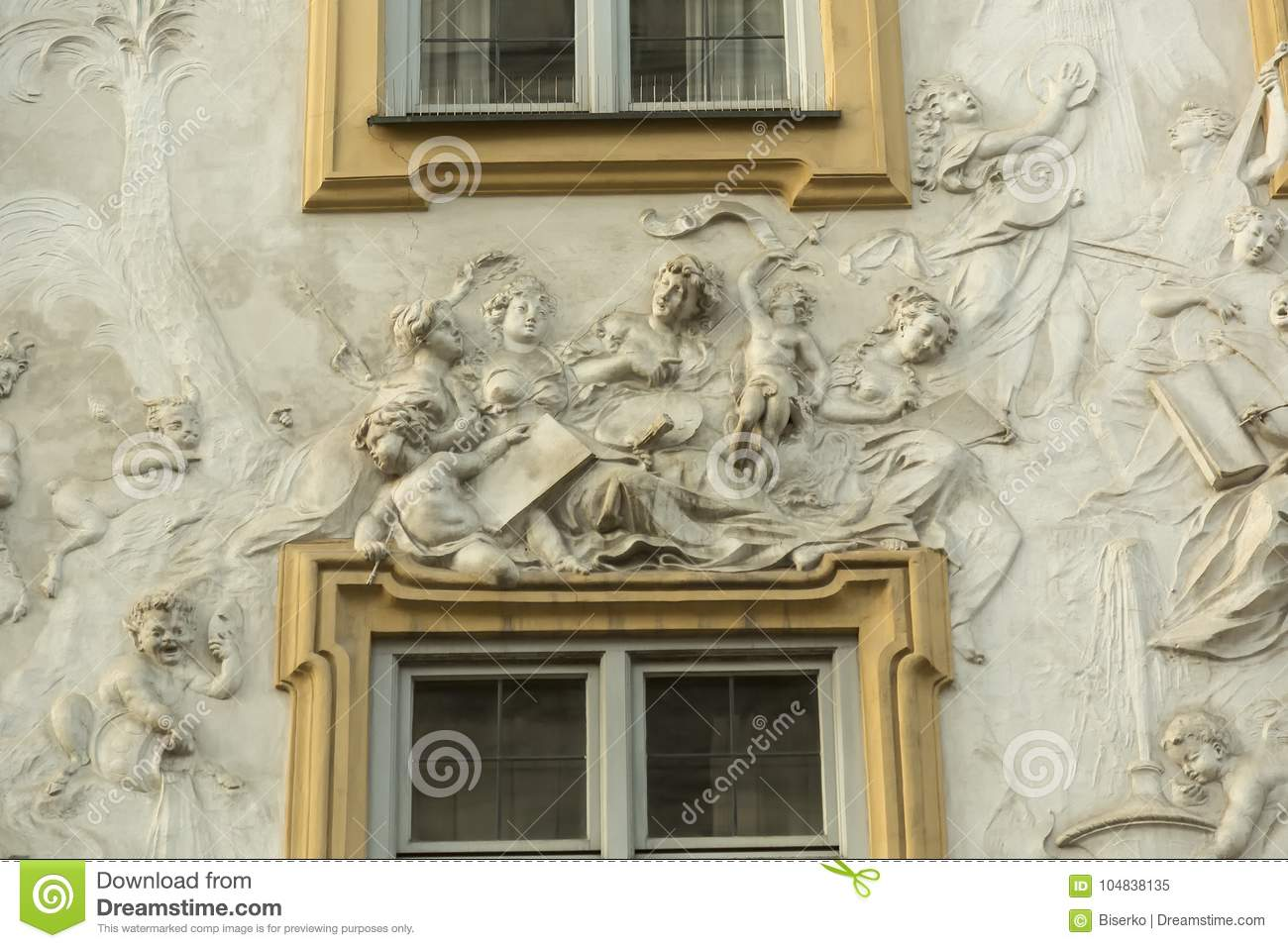 Decoration At The Facade Of The Old Villa Stock Image - Image of ...
