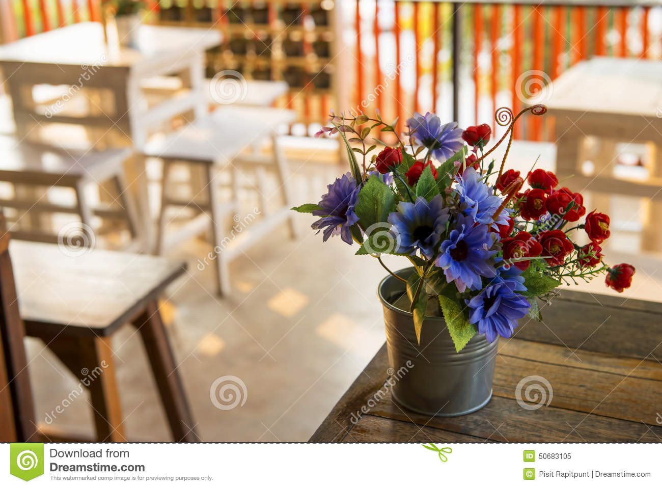 Decoration Flower On The Table In Coffee Shop Thailand Stock Photo Image 50683105